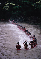 In preparation for the ear piercing ceremony that initiates them into adult society, Xavante boys spend weeks in the river hitting the water in a choreographed splashing display. Photo courtesy of Laura R. Graham.