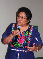 Mirna Cunningham addresses an audience about Indigenous rights. Photo courtesy of Mirna Cunningham.