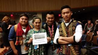 Indigenous youth show their pride at the 17th session of the UN Permanent Forum on Indigenous Issues in April.